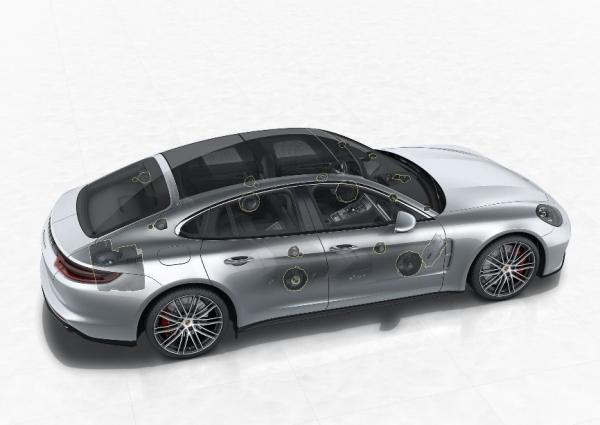 Auro-3D Lautsprecheranordnung im Porsche Panamera
