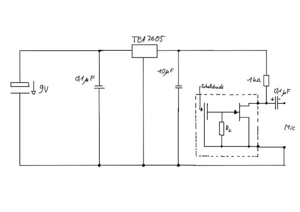Schaltungsskizze des Würfelmikrofons mit Schalter