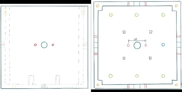 Skizzen des Würfelunterteils. Links Seitenansicht, rechts Draufsicht.