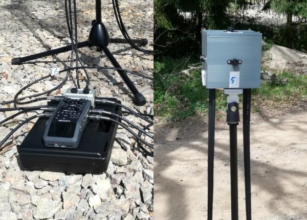 Aufbau des Würfel-Mikrofons am Parkplatz im Wald