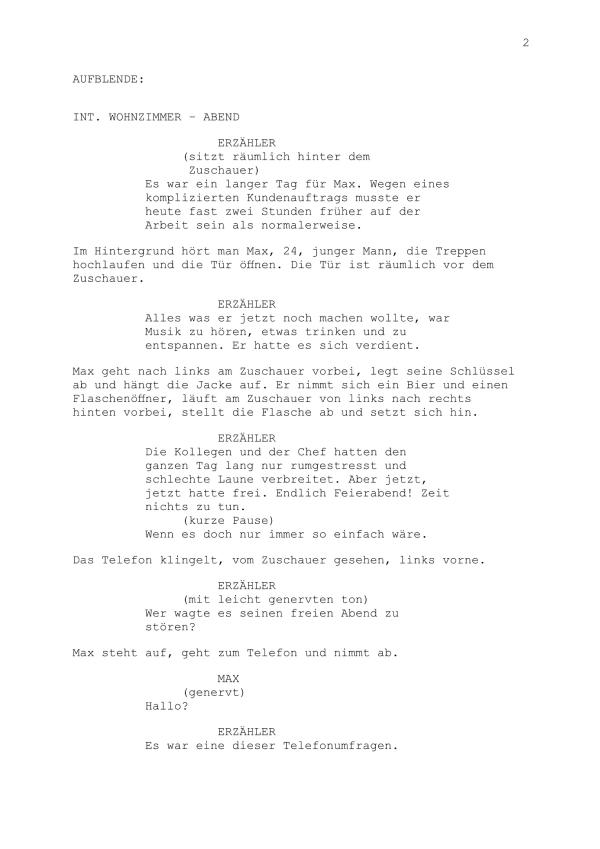Drehbuch – Mini-Hörspiel Teil 2