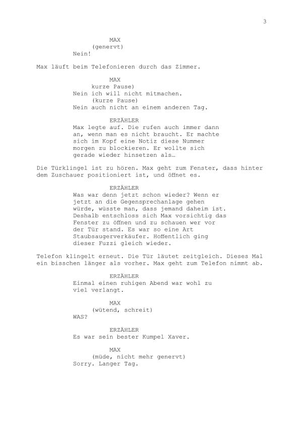 Drehbuch – Mini-Hörspiel Teil 3