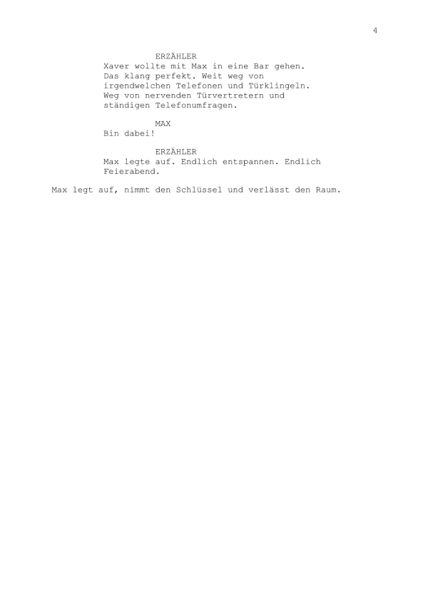 Drehbuch – Mini-Hörspiel Teil 4